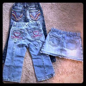 Denim LOT - 2T - 3 pieces -1 Jean skirt + 2 jeans